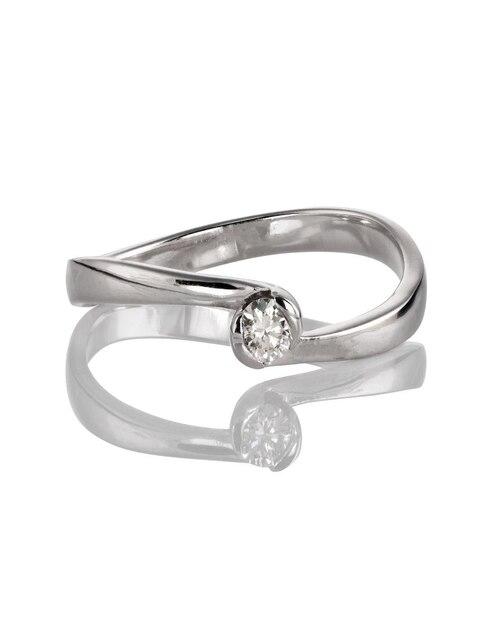 4472f1fdc8cd Anillo de compromiso oro blanco 14 k Amore Mio diamante